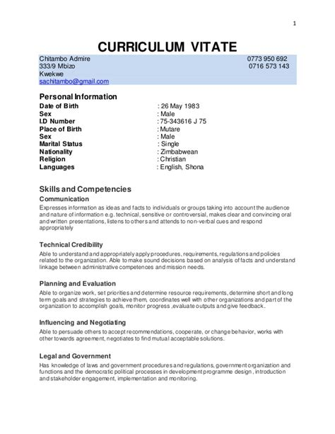 Draft Curriculum Vitae by Cv Admiree Docx Email Draft