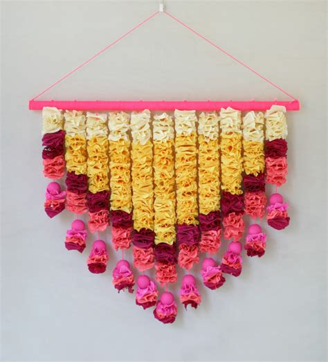 how to make hanging l with paper crepe paper petals wall hanging