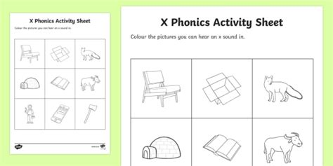x phonics colouring worksheet activity sheet republic of