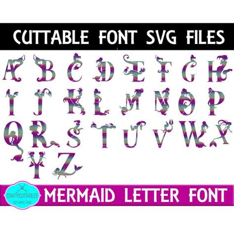 mermaid monogram font svg png files silhouette cameo  cricut files  craftycuttables