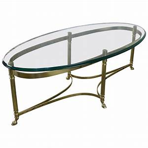 italian oval brass and glass coffee table 1940s at 1stdibs With oval brass and glass coffee table
