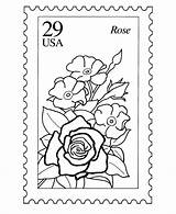 Stamp Coloring Postage Nature Stamps Usps Sheets Printable Postal Activity Template Collecting Mail Zoom Rose Flowers Philately Getcolorings Templates Authorized sketch template
