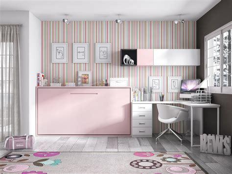 lit bureau escamotable habitación juvenil cama abatible blanco y rosa con tirador