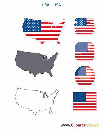 Icon Flagge Kontur Fahne Karte Button Usa
