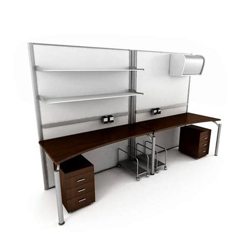 Basic 2 Person Office Desk With 2 Matching File Cabinets