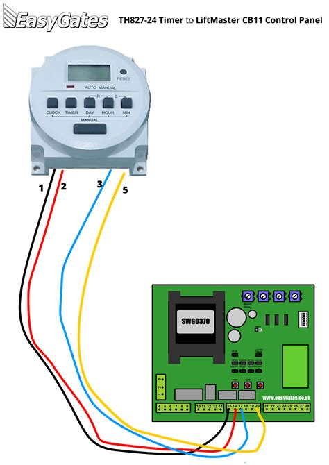 wiring diagram for connecting th827 24 timer to liftmaster