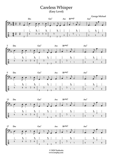 Find your perfect arrangement and access a variety of transpositions so you can print and play instantly, anywhere. Bass Tabs and sheet music Careless Whisper (Easy Level ...