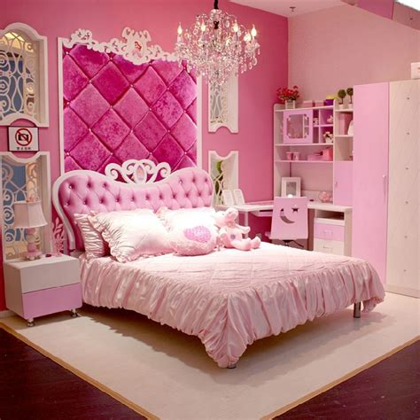 European Style MDF Pink Princess Girl 4pcs Bedroom Furniture Princess Bed(China (Mainland))