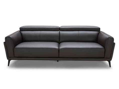 canapé delamaison canapé design en cuir de vachette ingrid noir 3 places
