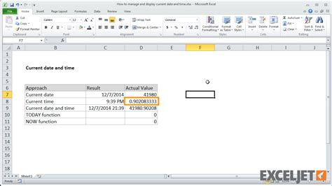 excel tutorial display current date time