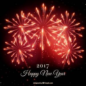 Red new year fireworks background Vector | Free Download