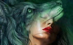 Digital Art Girl with Wolves