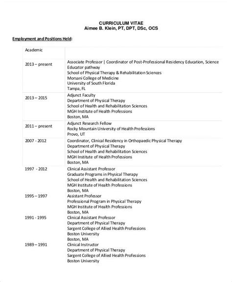 physical therapist resume   word  documents