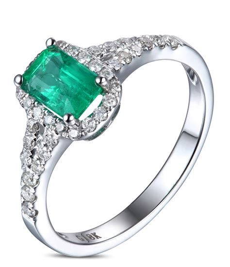 carat emerald  diamond halo engagement ring