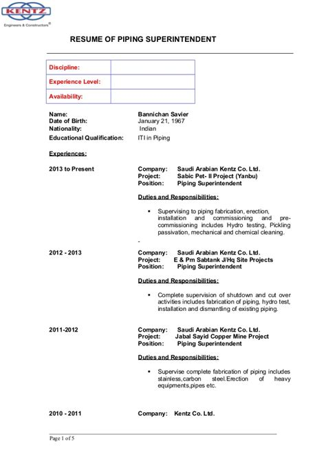 Date Of Availability Resume by Bannichan Savier Cv