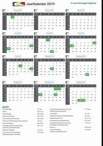 Kalender 2019 Jaarkalender Belgie Verlengde Weekends