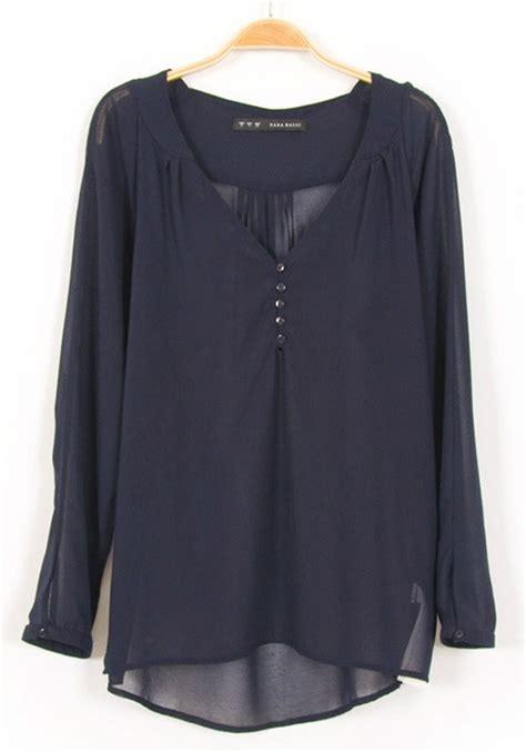 chiffon blouses blue plain buttons sleeve chiffon blouse