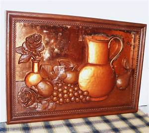 Retro copper d framed art kitchen decor vintage home
