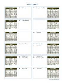 Printable 2017 Yearly Calendar Template Vertical