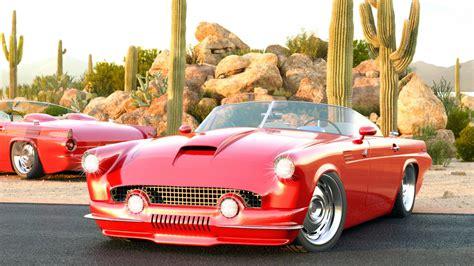 1955 Ford Thunderbird Custom Vizualtech Wallpaper Hd Car