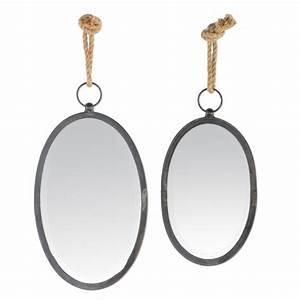 Miroir Rond Suspendu : miroir noir ovale suspendre avec une corde ~ Teatrodelosmanantiales.com Idées de Décoration