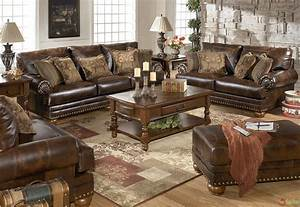 Traditional brown bonded leather sofa loveseat living room for Leather sofa sets for living room
