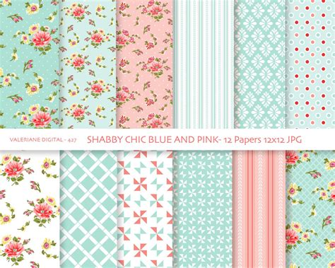 Shabby Chic Laden by Shabby Chic Digital Paper Pack In Blue And Pink Digital