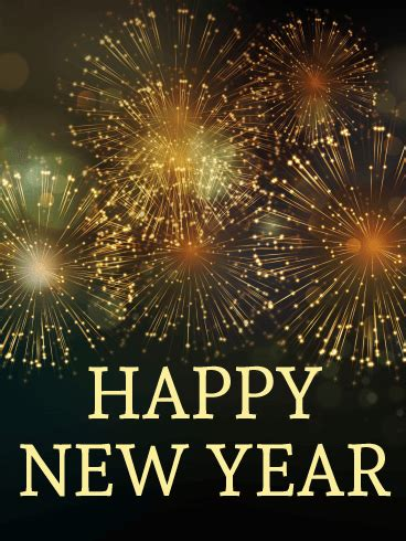 elegant  year fireworks card birthday greeting