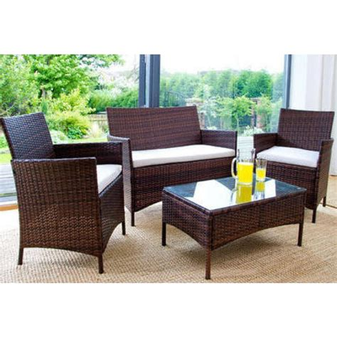how to buy wicker garden furniture on a budget out out 4pc rattan garden furniture set black luxury leather