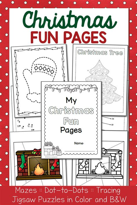 christmas fun pages packet dot  dots mazes tracing