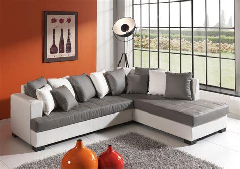 canapé d angle bicolore canapé d 39 angle design en pu gris blanc eros salon