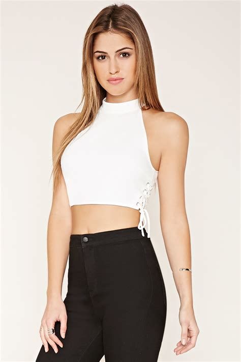 lace up cropped top forever 21 lace up high neck crop top in white lyst