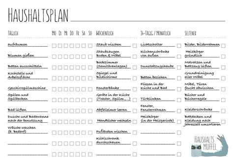 Wochenplan Haushalt Vorlage by Haushaltsplan Mit Vorlage Zum Haushalt