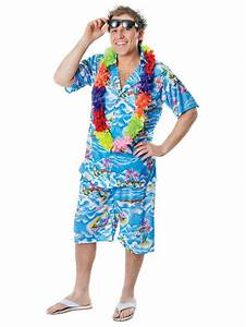 Mens Hawaiian Costume Stag Retro Beach Luau Tropical Aloha ...