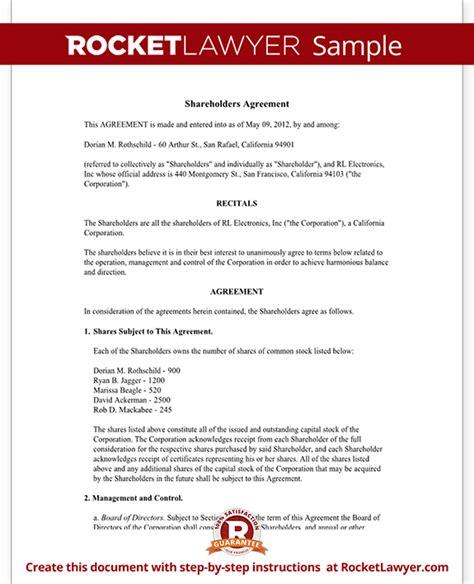 Simple Shareholders Agreement Template shareholder agreement shareholder contract form with