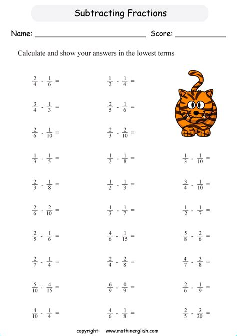 subtract unlike fractions with denominators that are not