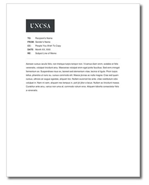 Memo Template by Memo Template Uncsa
