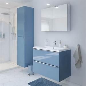 Meuble Salle De Bain Castorama : meuble de sdb susp bleu 80 cm imandra vasque nira pas ~ Melissatoandfro.com Idées de Décoration