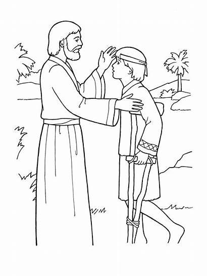 Jesus Heals Coloring Sick Blind Lame Boy