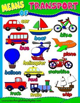 means  transport poster kids time english classroom