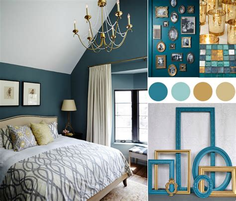 bleu canard chambre deco bleu canard et or