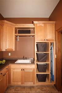 Furniture Laundry Closet Organizer With Oak Cabinet With