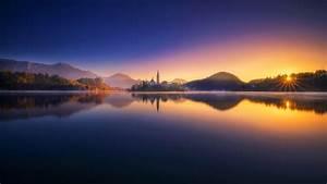 nature, , lake, , reflection, , sunrise, , clouds, , church, , island