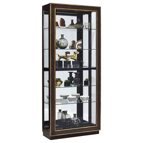 pulaski finley sliding door curio cabinet in brown p021587
