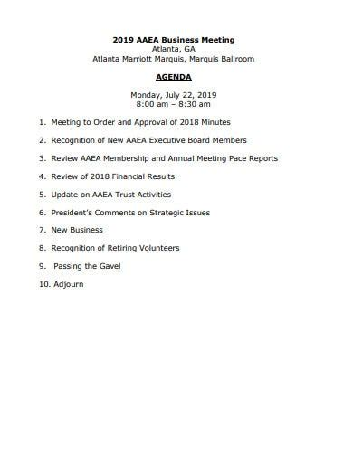 business meeting agenda templates
