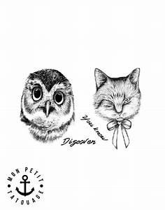 Tatouage Chouette Signification : tatouage chat et chouette r aliste ph m re mon petit ~ Melissatoandfro.com Idées de Décoration