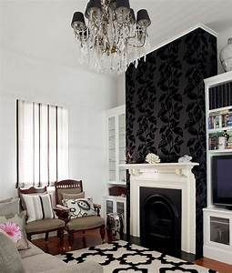 Living room fireplace background feature wall using for Feature wall wallpaper living room