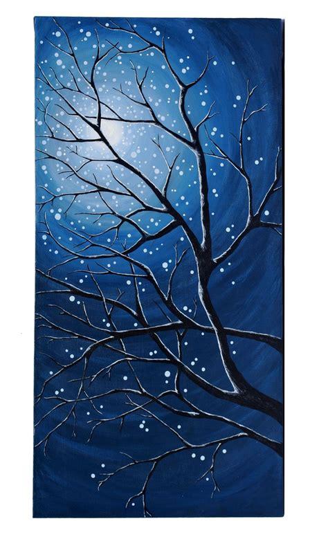 Original Modern Landscape Painting Of Moonlit Branches