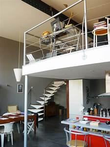 bureau en mezzanine dans un loft a roubaix With deco maison avec poutre 14 escalier poutre centrale mezzanine moderne escalier
