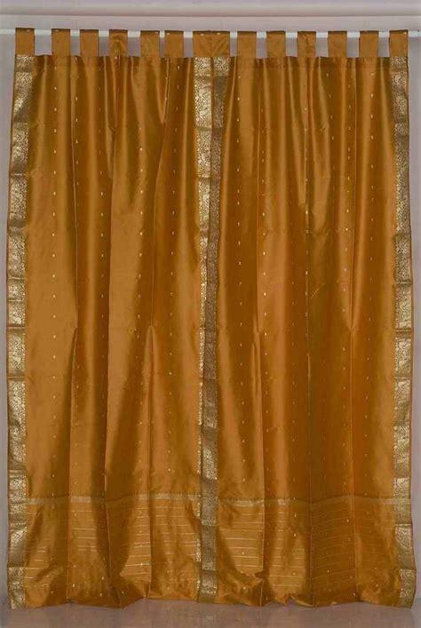 tab top mustard silk sari curtains drapes panels gold